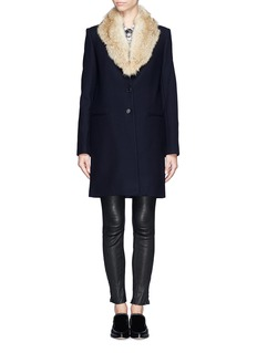 THEORY 'Belize' detachable coyote fur collar wool coat