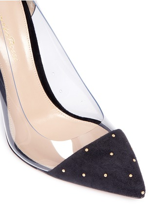 Detail View - Click To Enlarge - Gianvito Rossi - 'Plexi' clear PVC stud suede pumps