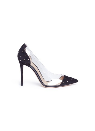 Main View - Click To Enlarge - Gianvito Rossi - 'Plexi' clear PVC stud suede pumps
