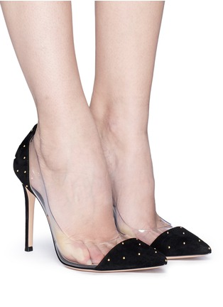 Figure View - Click To Enlarge - Gianvito Rossi - 'Plexi' clear PVC stud suede pumps