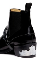 Detachable harness leather Chelsea boots
