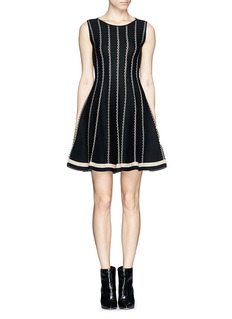 RVN'Vertical stripe' circular jacquard flare dress