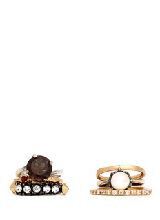 IOSSELLIANI Cultured pearl and crystal six ring set