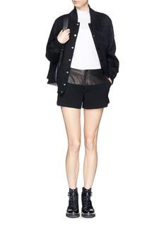 RAG & BONE'Kelly' leather yoke crepe shorts