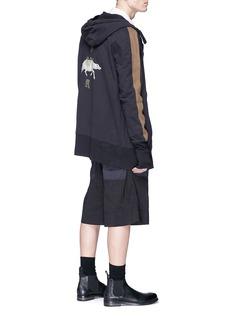 ZIGGY CHEN 条纹衣袖印花连帽外套