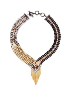 IOSSELLIANI Decò cheetah crystal fringe necklace