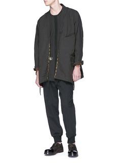 ZIGGY CHEN 拼接设计纯棉抽绳休闲裤