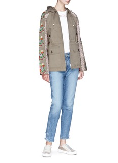 Needle & Thread Cross stitch floral embroidered sleeve parka