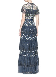 Needle & Thread Floral embellished broderie anglaise tiered ruffle tulle gown