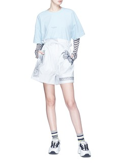 Acne Studios 'Mauricce' floral embroidered paperbag waist shorts
