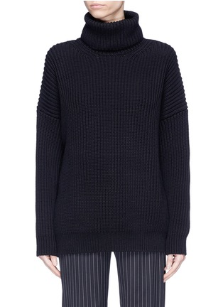 Main View - Click To Enlarge - Acne Studios - 'Piphy Chunky' colourblock back hem rib knit turtleneck sweater