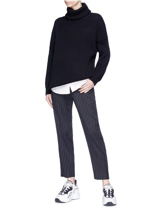 Figure View - Click To Enlarge - Acne Studios - 'Piphy Chunky' colourblock back hem rib knit turtleneck sweater