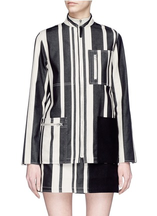 Main View - Click To Enlarge - Acne Studios - 'Aiylin' zip pocket colourblock panel stripe safari tunic