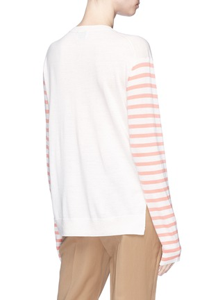 Back View - Click To Enlarge - Acne Studios - 'Cohrie' stripe sleeve Merino wool sweater