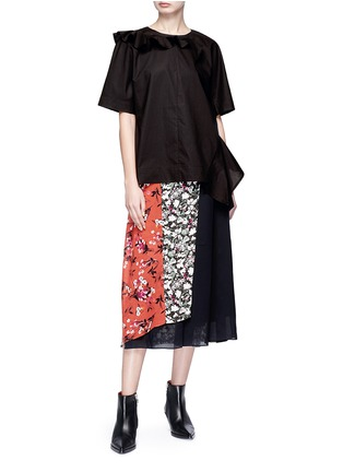 Figure View - Click To Enlarge - Acne Studios - 'Hayett' floral print mock wrap crepe culottes
