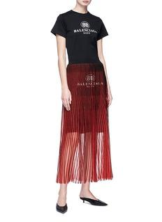 Balenciaga Logo print pleated skirt
