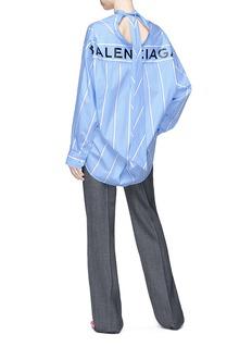 Balenciaga 'New Swing' logo print tie neck stripe oversized shirt