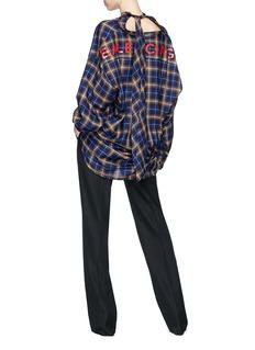 Balenciaga 'New Swing' logo print tie neck check oversized shirt