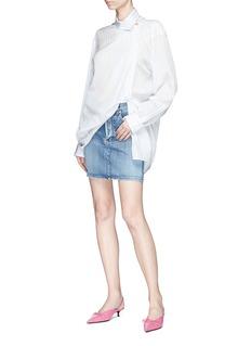 Balenciaga Logo embroidered denim mini skirt
