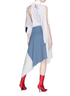 BALENCIAGA Chaîne & Trame仿包裹式不对称拼色高领连衣裙