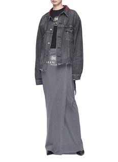 Balenciaga Logo print ribbon tie maxi wrap skirt