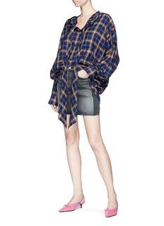 Balenciaga Logo embroidered stonewashed denim mini skirt