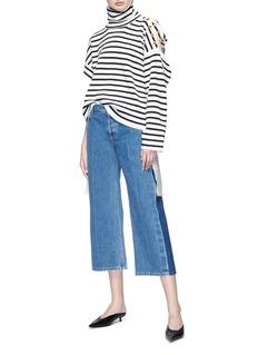 Balenciaga Drape hem asymmetric sleeve stripe turtleneck sweater