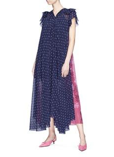 Balenciaga Tie neck colourblock floral logo print maxi dress