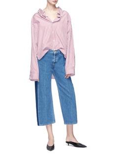 Balenciaga 'Rockabilly' stripe outseam stonewash culotte jeans