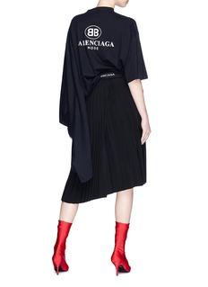 BALENCIAGA BB Mode品牌名称标志不对称纯棉T恤