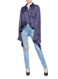 Balenciaga Tie cuff logo jacquard satin blouse