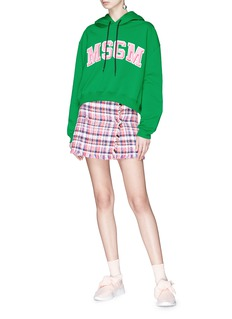 MSGM Logo patch cropped hoodie