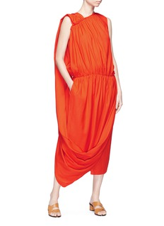 Ms MIN Ruched asymmetric sash drape dress