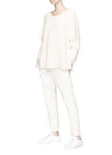 Ms MIN Side zip long sleeve cady top