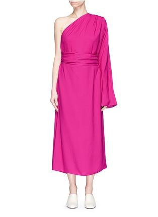 Main View - Click To Enlarge - Ms MIN - Sash belt one-shoulder crepe dress