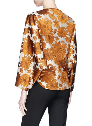 Back View - Click To Enlarge - Ms MIN - Floral jacquard batwing sleeve jacket