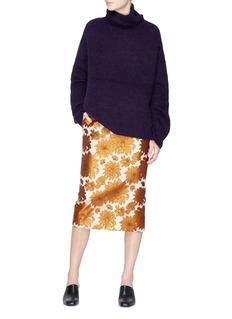 Ms MIN Floral jacquard pencil skirt