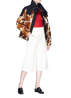 Ms MIN Hooded stripe floral jacquard jacket