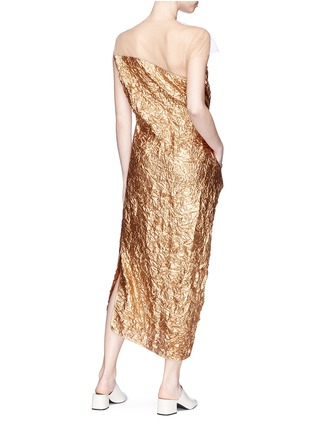 Figure View - Click To Enlarge - Ms MIN - Mesh panel asymmetric crinkled lamé dress