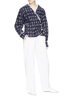 Ms MIN Butterfly floral jacquard ruched wrap jacket