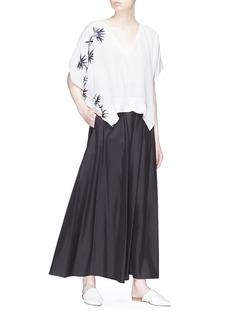 Ms MIN Bamboo embroidered silk chiffon blouse