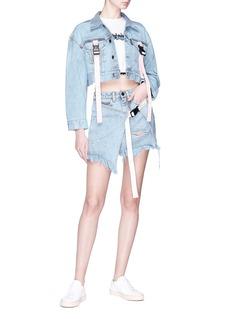 Palm Angels 'Ocean' buckled strap cropped denim jacket