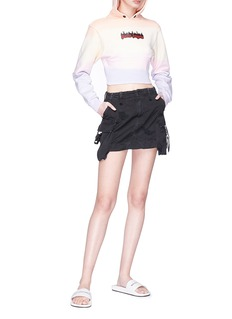 Palm Angels Slogan strap mini cargo denim skirt