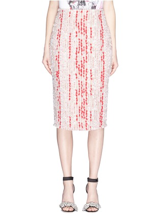 Main View - Click To Enlarge - Alexander McQueen - Colourblock fil coupé tweed skirt