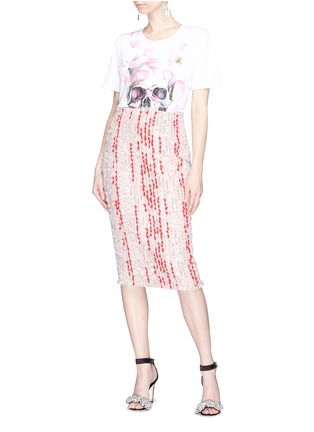 Figure View - Click To Enlarge - Alexander McQueen - Colourblock fil coupé tweed skirt