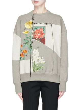 Main View - Click To Enlarge - Alexander McQueen - Lace-up trim floral embroidered patchwork sweatshirt