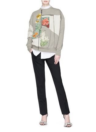 Figure View - Click To Enlarge - Alexander McQueen - Lace-up trim floral embroidered patchwork sweatshirt
