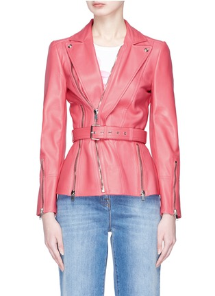 Main View - Click To Enlarge - Alexander McQueen - Belted leather biker jacket