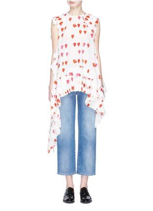 Main View - Click To Enlarge - Alexander McQueen - Asymmetric ruffle drape petal print silk crepe top