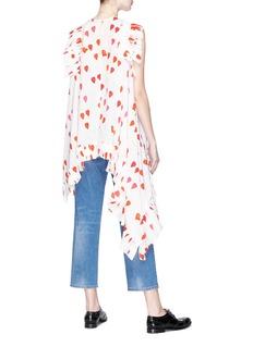 Alexander McQueen Asymmetric ruffle drape petal print silk crepe top
